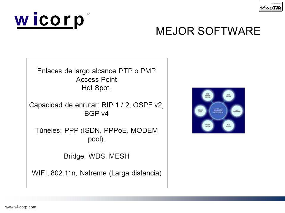 www.wi-corp.com MEJOR SOFTWARE Enlaces de largo alcance PTP o PMP Access Point Hot Spot. Capacidad de enrutar: RIP 1 / 2, OSPF v2, BGP v4 Túneles: PPP