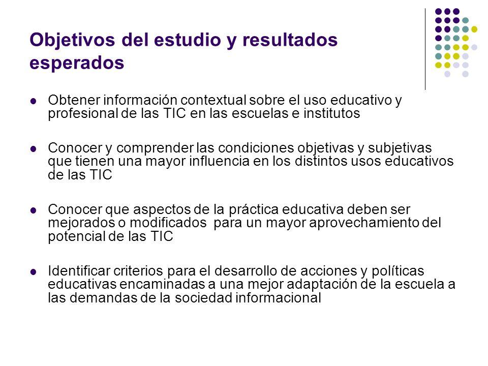 Objetivos del estudio y resultados esperados Obtener información contextual sobre el uso educativo y profesional de las TIC en las escuelas e institut