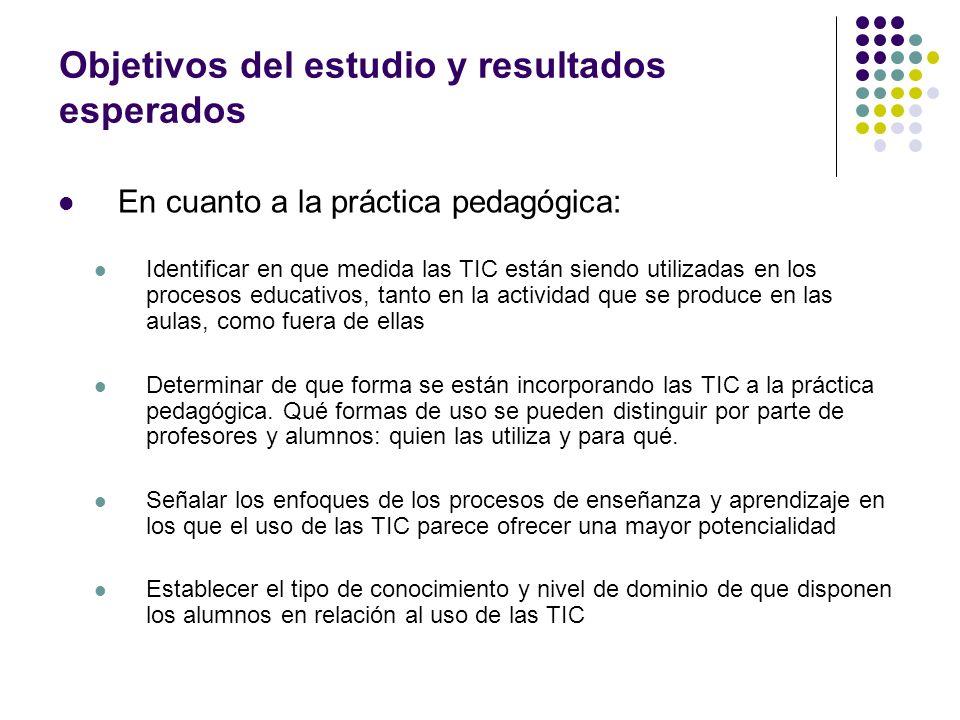 Objetivos del estudio y resultados esperados En cuanto a la práctica pedagógica: Identificar en que medida las TIC están siendo utilizadas en los proc