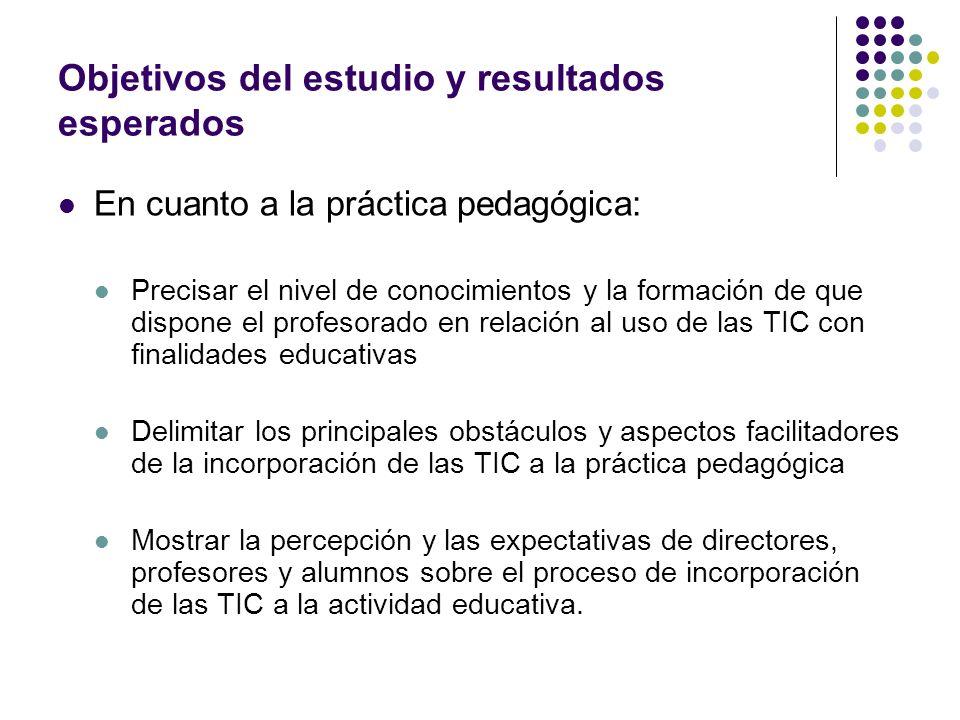 Objetivos del estudio y resultados esperados En cuanto a la práctica pedagógica: Precisar el nivel de conocimientos y la formación de que dispone el p