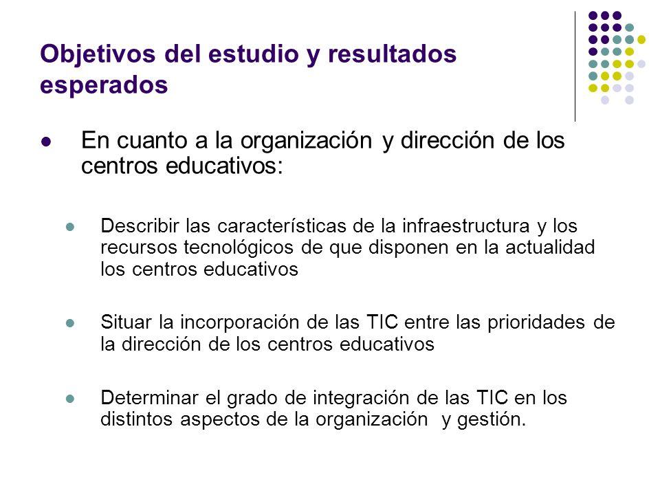 Objetivos del estudio y resultados esperados En cuanto a la organización y dirección de los centros educativos: Describir las características de la in