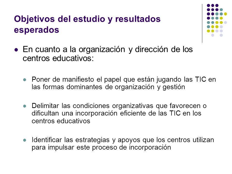 Objetivos del estudio y resultados esperados En cuanto a la organización y dirección de los centros educativos: Poner de manifiesto el papel que están