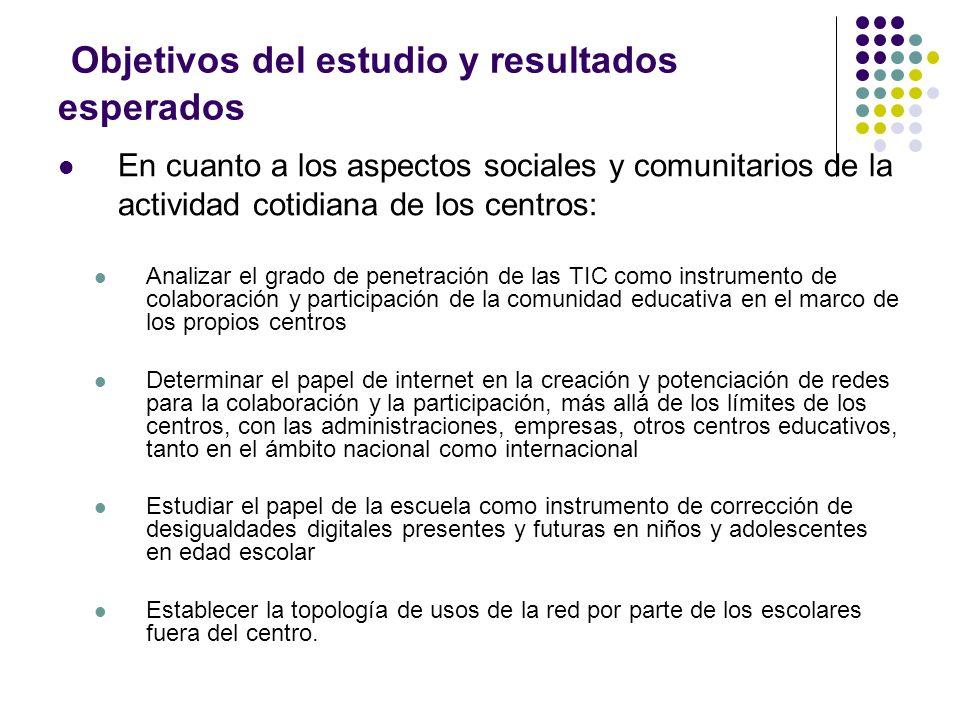 Objetivos del estudio y resultados esperados En cuanto a los aspectos sociales y comunitarios de la actividad cotidiana de los centros: Analizar el gr