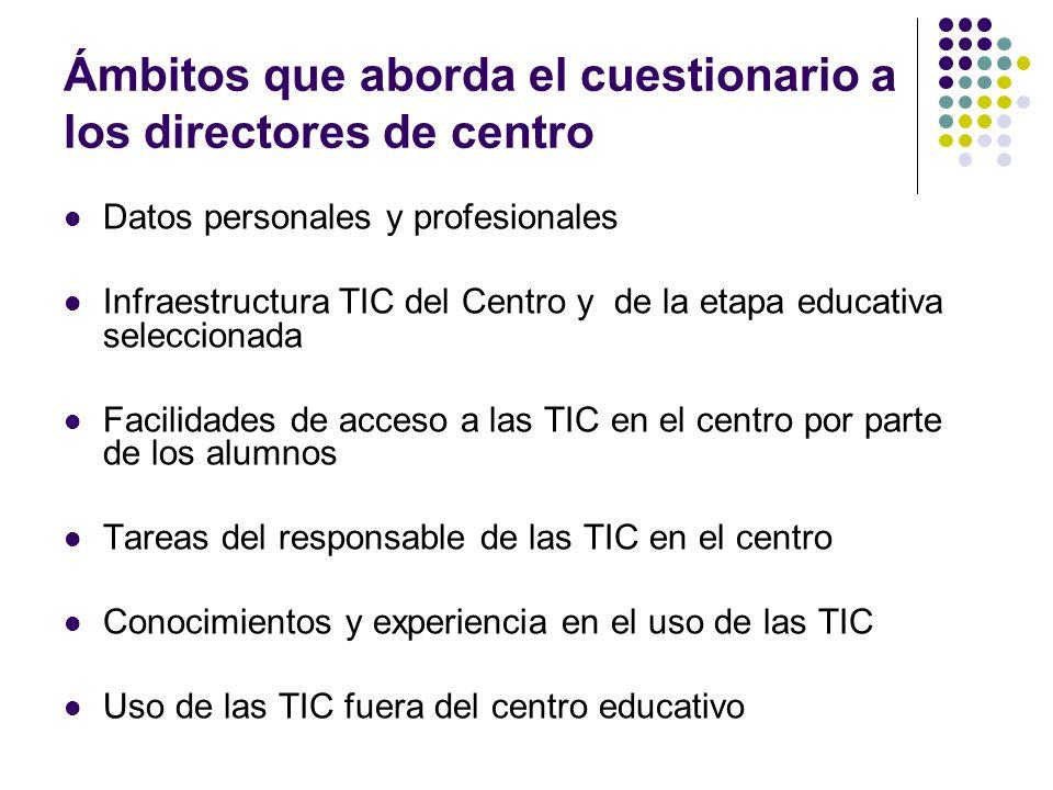 Ámbitos que aborda el cuestionario a los directores de centro Datos personales y profesionales Infraestructura TIC del Centro y de la etapa educativa