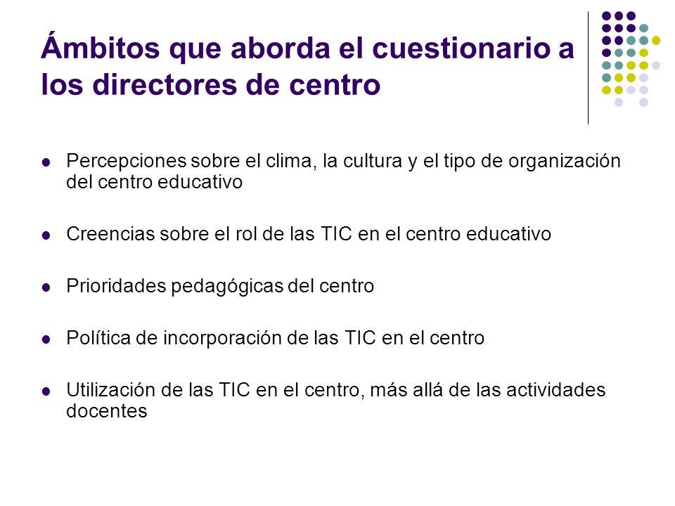Ámbitos que aborda el cuestionario a los directores de centro Percepciones sobre el clima, la cultura y el tipo de organización del centro educativo C