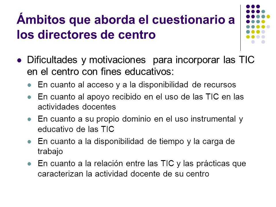 Ámbitos que aborda el cuestionario a los directores de centro Dificultades y motivaciones para incorporar las TIC en el centro con fines educativos: E