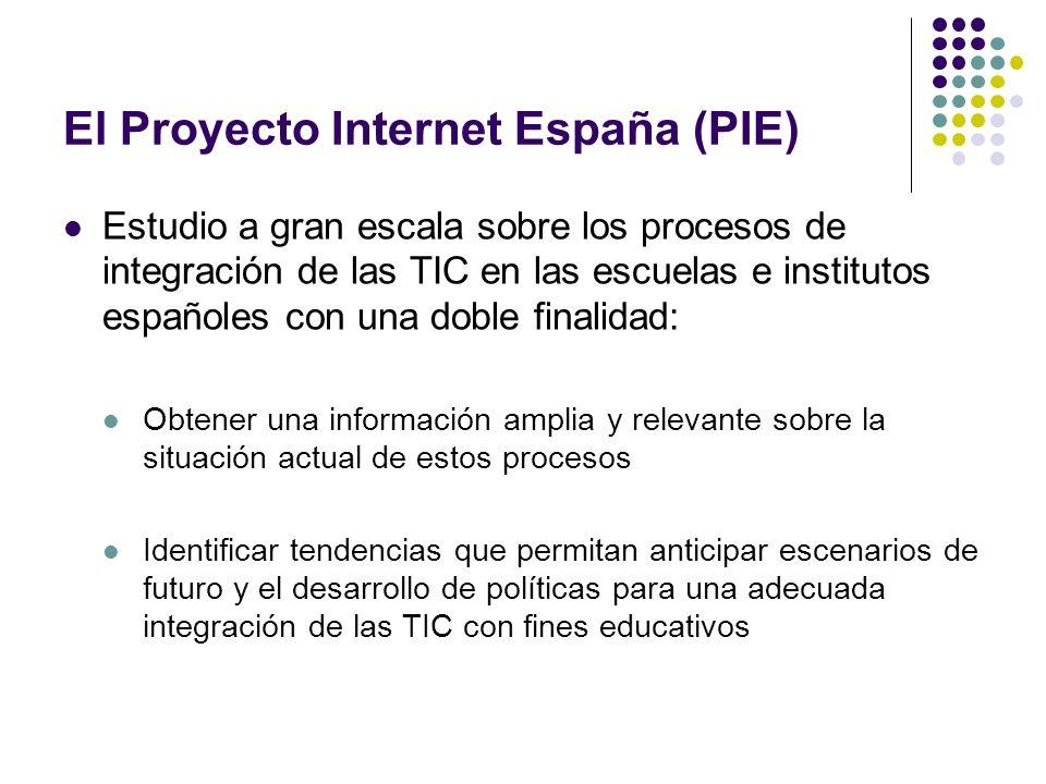 El Proyecto Internet España (PIE) Estudio de carácter empírico y analítico sobre una muestra representativa de centros, profesorado y alumnado de educación primaria y secundaria obligatoria de España Basado en una encuesta por cuestionarios, mediante entrevistas presenciales a directores, profesores y alumnos de sexto grado de primaria y cuarto de ESO