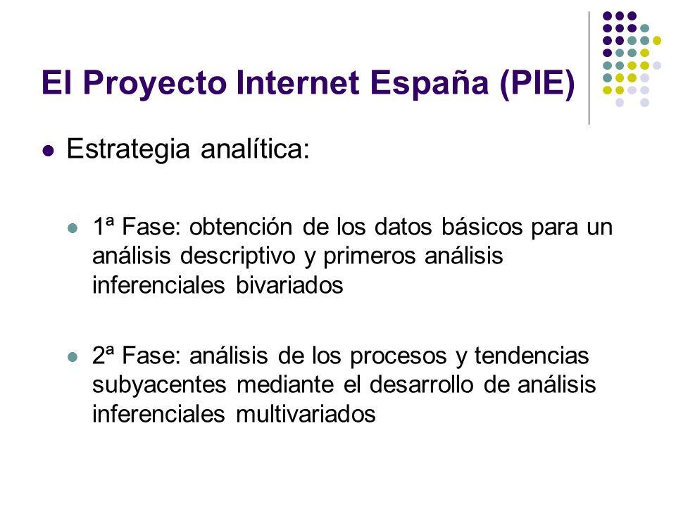 El Proyecto Internet España (PIE) Estrategia analítica: 1ª Fase: obtención de los datos básicos para un análisis descriptivo y primeros análisis infer