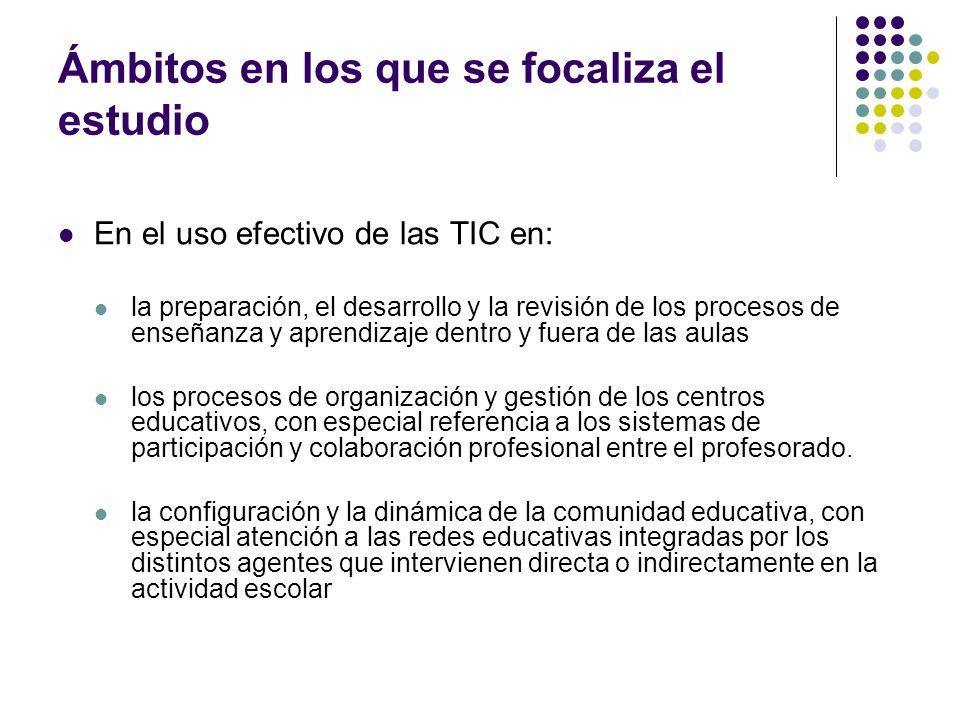 Ámbitos que aborda el cuestionario al profesorado Uso de las TIC en la actividad docente y profesional cuando no se está en el aula con los alumnos (14 usos distintos y frecuencias) Obstáculos, facilidades e incentivos en el uso de las TIC en sus actividades docentes En cuanto al acceso y a la disponibilidad de recursos En cuanto al apoyo recibido en el uso de las TIC en las actividades docentes En cuanto a su propio dominio en el uso de las TIC en las actividades docentes En cuanto a la disponibilidad de tiempo y la carga de trabajo En cuanto a la relación entre las TIC y las prácticas que caracterizan su actividad docente y la de su centro TIC y expectativas profesionales