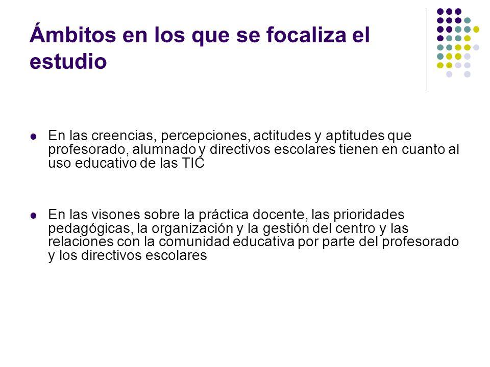 Ámbitos que aborda el cuestionario a los directores de centro Datos personales y profesionales Infraestructura TIC del Centro y de la etapa educativa seleccionada Facilidades de acceso a las TIC en el centro por parte de los alumnos Tareas del responsable de las TIC en el centro Conocimientos y experiencia en el uso de las TIC Uso de las TIC fuera del centro educativo