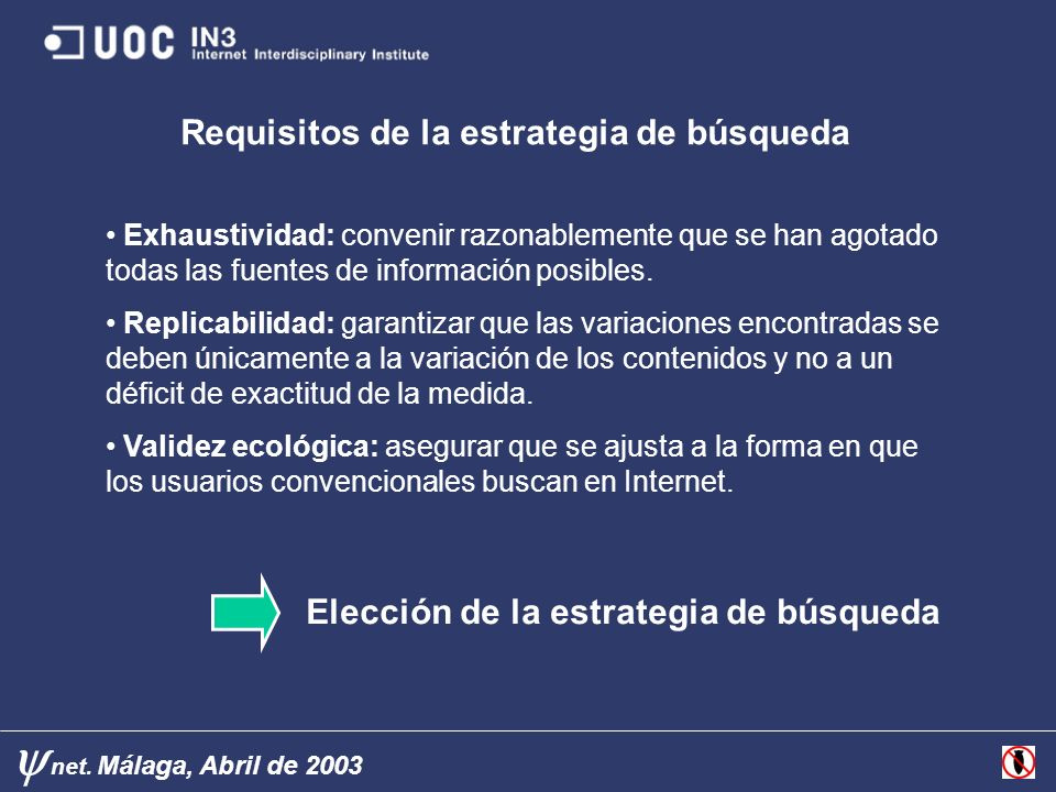 net. Málaga, Abril de 2003 Requisitos de la estrategia de búsqueda Elección de la estrategia de búsqueda Exhaustividad: convenir razonablemente que se
