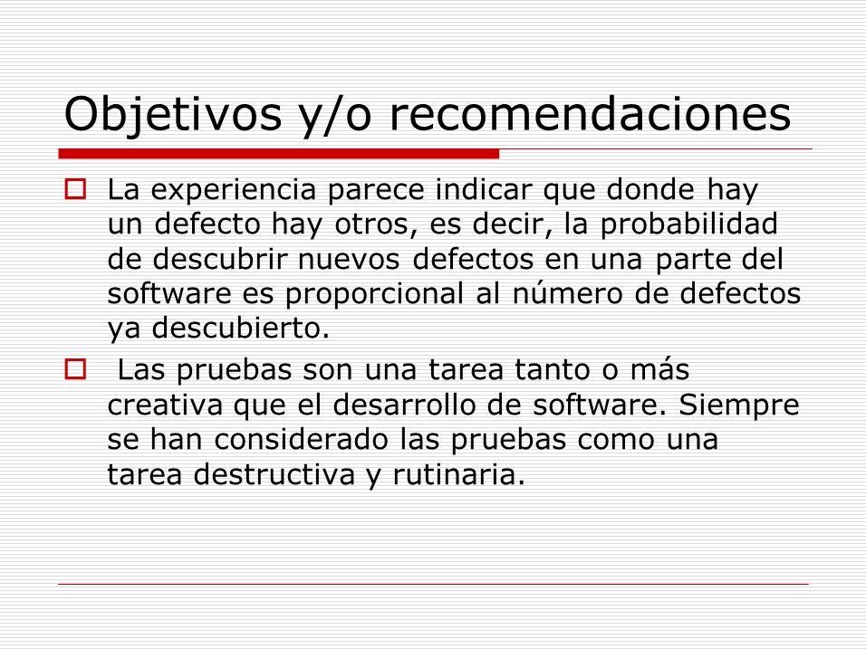 Objetivos y/o recomendaciones La experiencia parece indicar que donde hay un defecto hay otros, es decir, la probabilidad de descubrir nuevos defectos