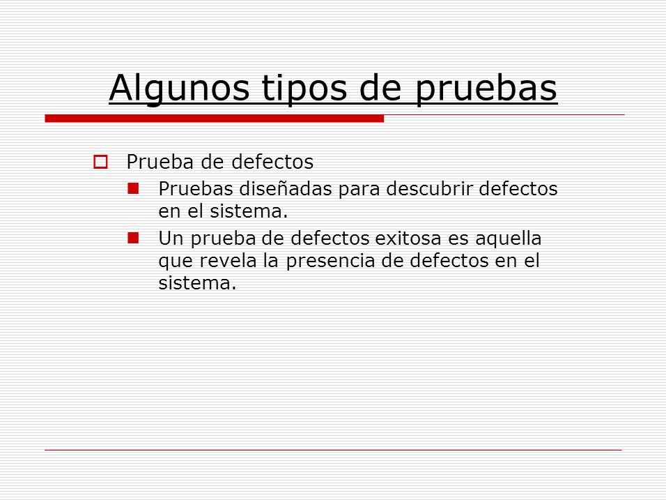 Prueba de defectos Pruebas diseñadas para descubrir defectos en el sistema. Un prueba de defectos exitosa es aquella que revela la presencia de defect