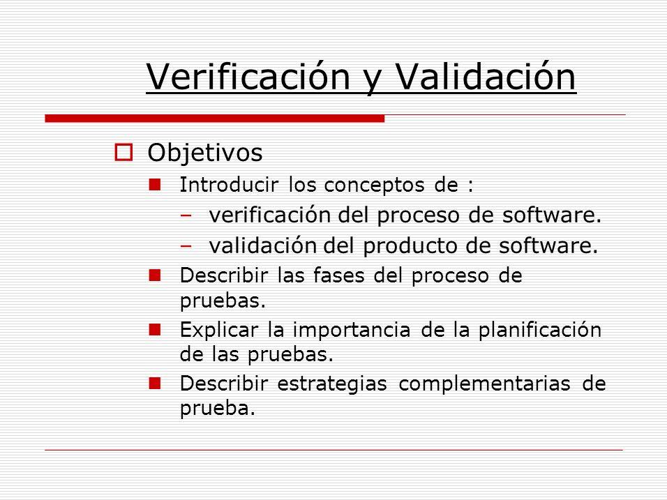 Verificación y Validación Objetivos Introducir los conceptos de : –verificación del proceso de software. –validación del producto de software. Describ