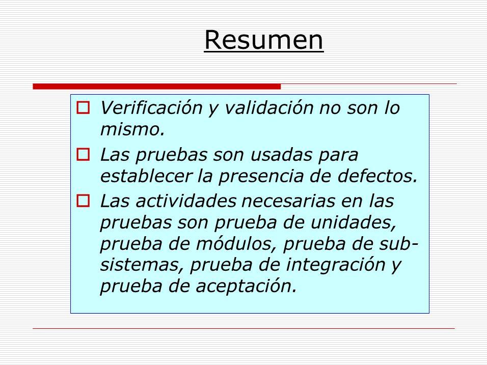 Resumen Verificación y validación no son lo mismo. Las pruebas son usadas para establecer la presencia de defectos. Las actividades necesarias en las
