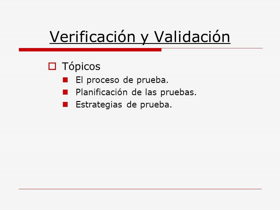 Verificación y Validación Tópicos El proceso de prueba. Planificación de las pruebas. Estrategias de prueba.