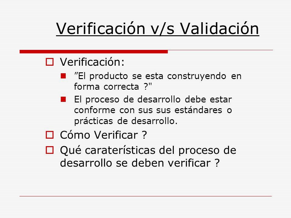 Validación Se esta construyendo el producto correcto? El software debe hacer lo que el usuario requiere, debe haber concordancia con : –la especificación de requisitos.
