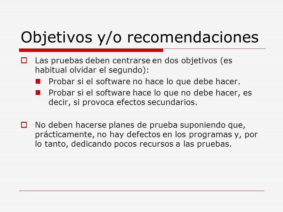 Objetivos y/o recomendaciones Las pruebas deben centrarse en dos objetivos (es habitual olvidar el segundo): Probar si el software no hace lo que debe