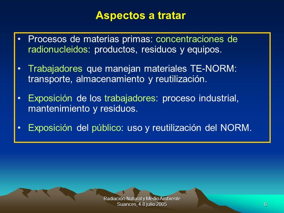 Radiación Natural y Medio Ambiente Suances, 4-8 julio 20056 Procesos de materias primas: concentraciones de radionucleidos: productos, residuos y equi