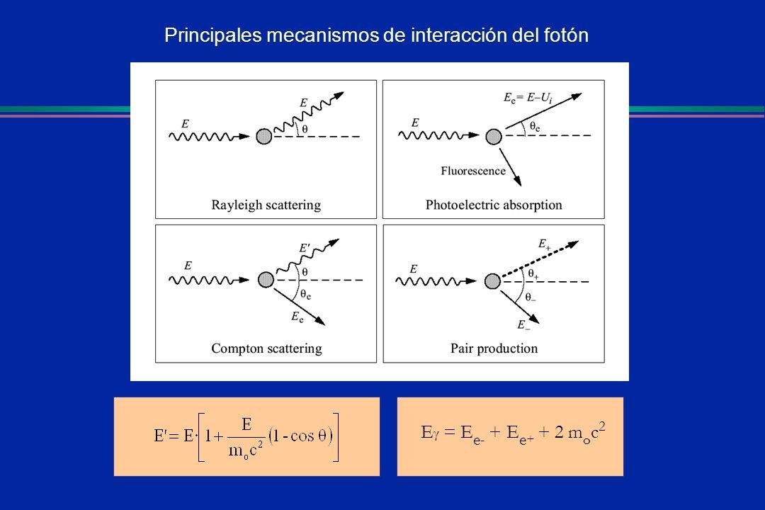 E = E e - + E e + + 2 m o c 2 Principales mecanismos de interacción del fotón
