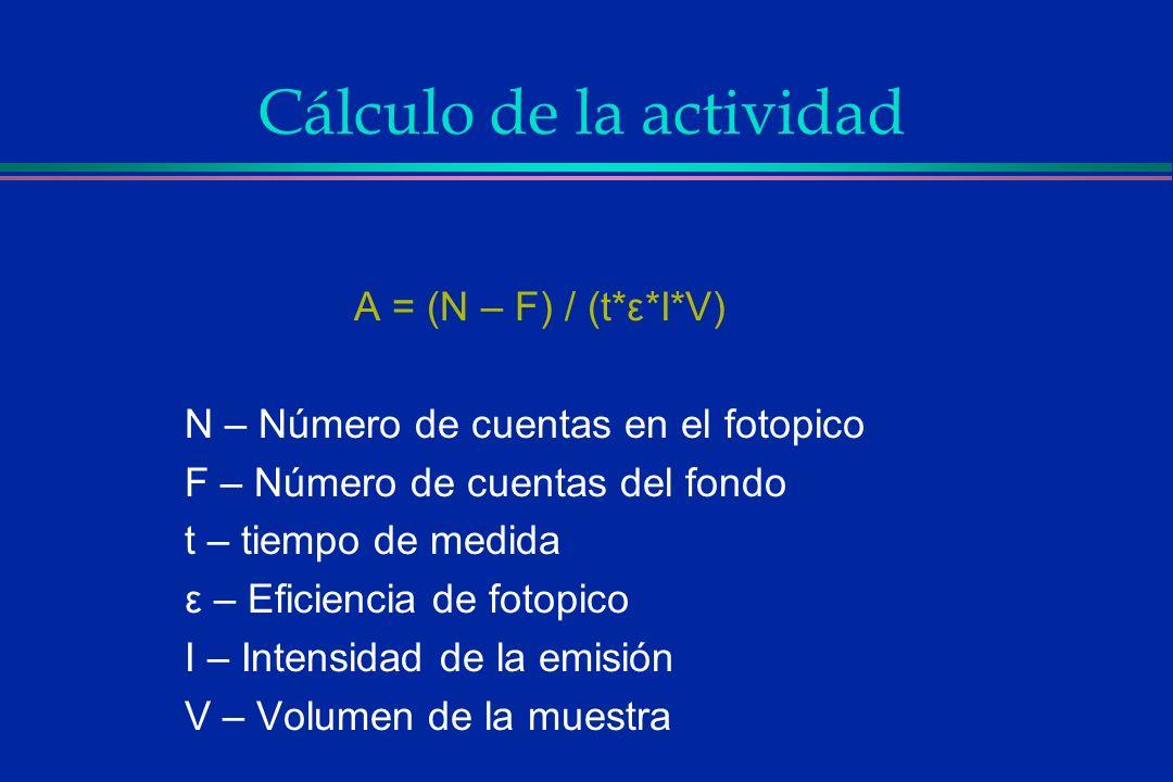 Cálculo de la actividad A = (N – F) / (t*ε*I*V) N – Número de cuentas en el fotopico F – Número de cuentas del fondo t – tiempo de medida ε – Eficienc