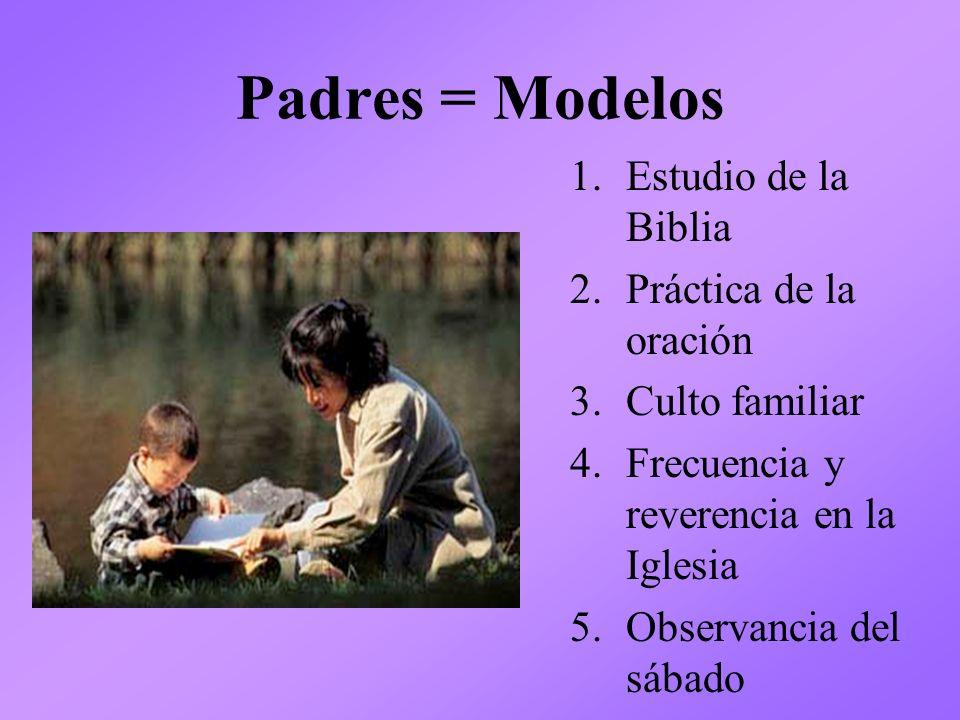 Padres = Modelos 1.Estudio de la Biblia 2.Práctica de la oración 3.Culto familiar 4.Frecuencia y reverencia en la Iglesia 5.Observancia del sábado