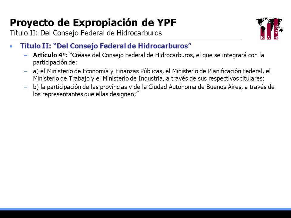Proyecto de Expropiación de YPF Título II: Del Consejo Federal de Hidrocarburos Título II: Del Consejo Federal de Hidrocarburos –Artículo 4º: Créase d