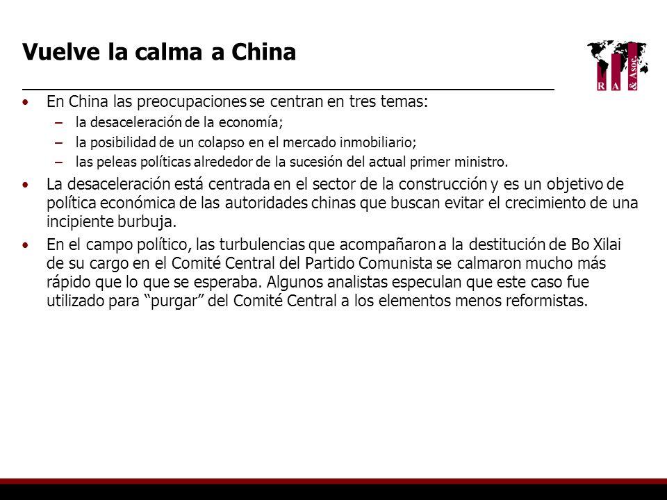 En China las preocupaciones se centran en tres temas: –la desaceleración de la economía; –la posibilidad de un colapso en el mercado inmobiliario; –la