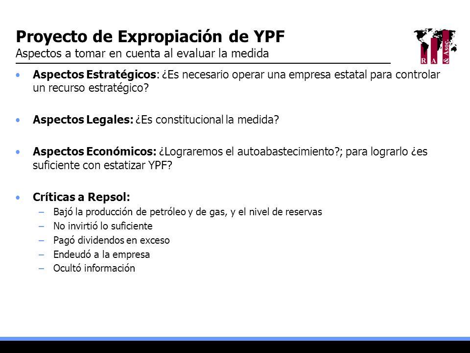 Proyecto de Expropiación de YPF Aspectos a tomar en cuenta al evaluar la medida Aspectos Estratégicos: ¿Es necesario operar una empresa estatal para c
