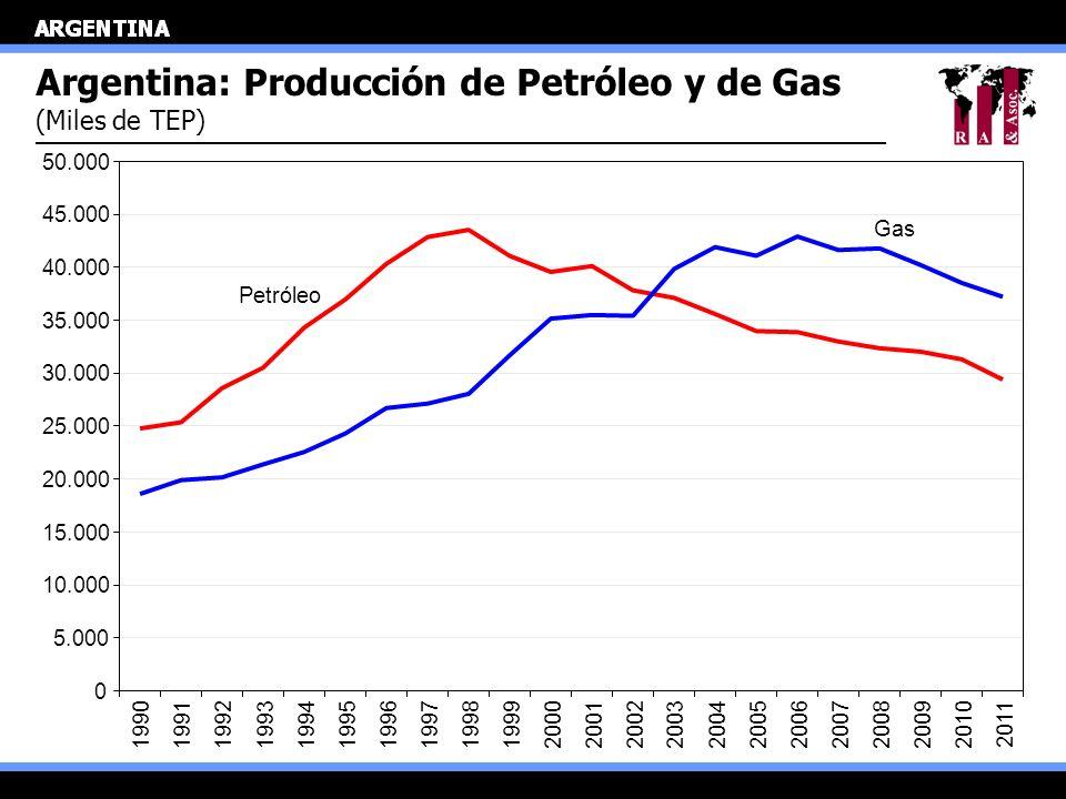 Argentina: Producción de Petróleo y de Gas (Miles de TEP) 0 5.000 10.000 15.000 20.000 25.000 30.000 35.000 40.000 45.000 50.000 199019911992199319941