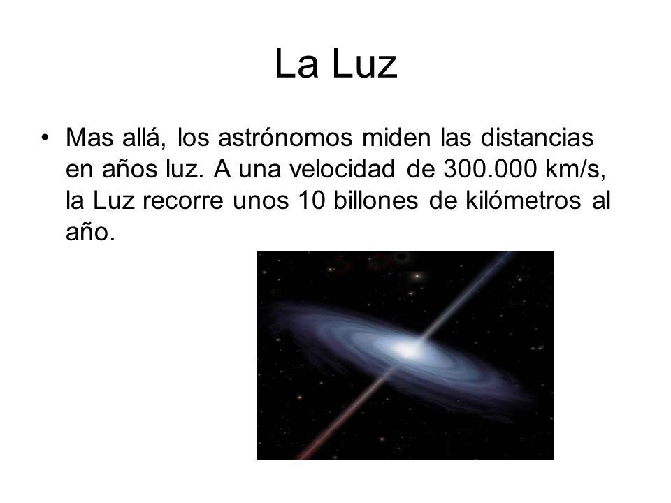 La Luz Mas allá, los astrónomos miden las distancias en años luz. A una velocidad de 300.000 km/s, la Luz recorre unos 10 billones de kilómetros al añ