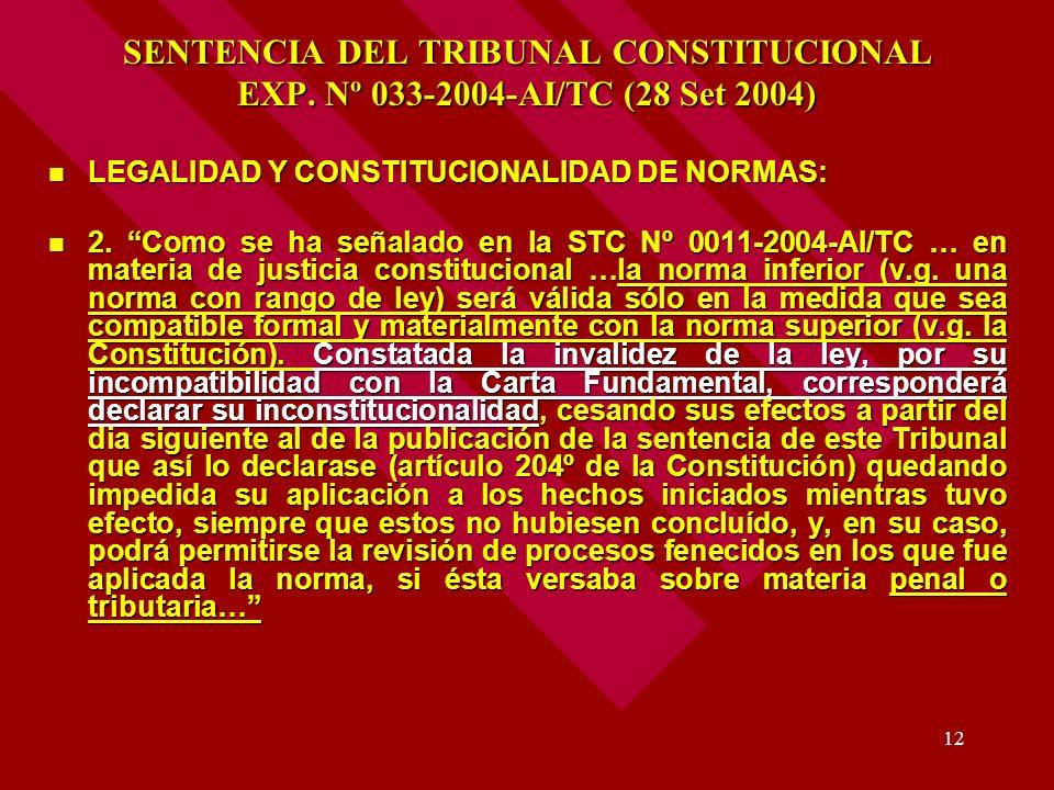 12 SENTENCIA DEL TRIBUNAL CONSTITUCIONAL EXP. Nº 033-2004-AI/TC (28 Set 2004) LEGALIDAD Y CONSTITUCIONALIDAD DE NORMAS: LEGALIDAD Y CONSTITUCIONALIDAD
