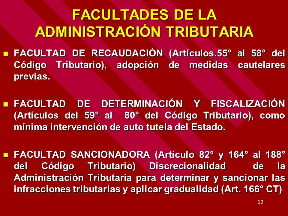 13 FACULTADES DE LA ADMINISTRACIÓN TRIBUTARIA FACULTAD DE RECAUDACIÓN (Artículos.55° al 58° del Código Tributario), adopción de medidas cautelares pre
