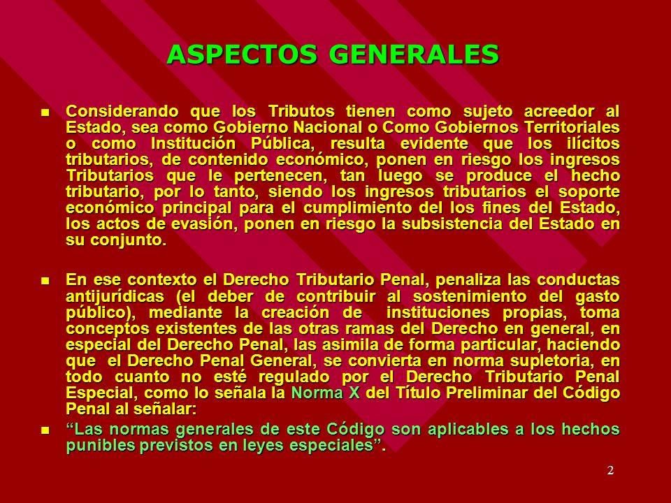 2 ASPECTOS GENERALES Considerando que los Tributos tienen como sujeto acreedor al Estado, sea como Gobierno Nacional o Como Gobiernos Territoriales o