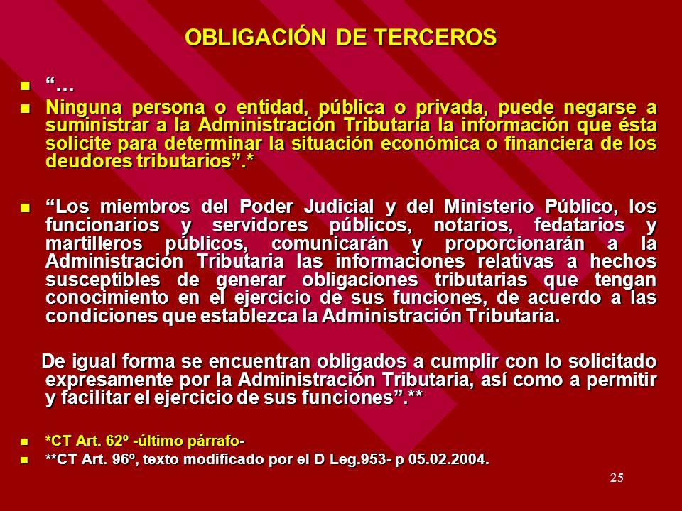 25 OBLIGACIÓN DE TERCEROS … Ninguna persona o entidad, pública o privada, puede negarse a suministrar a la Administración Tributaria la información qu