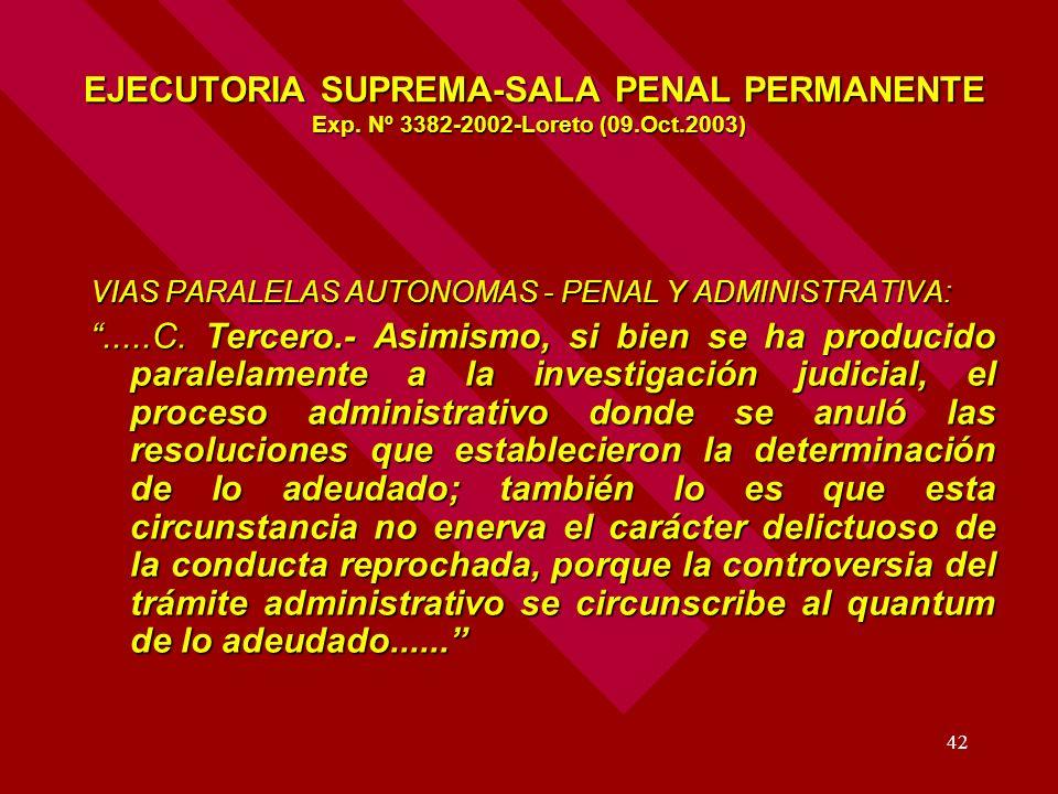 42 EJECUTORIA SUPREMA-SALA PENAL PERMANENTE Exp. Nº 3382-2002-Loreto (09.Oct.2003) EJECUTORIA SUPREMA-SALA PENAL PERMANENTE Exp. Nº 3382-2002-Loreto (