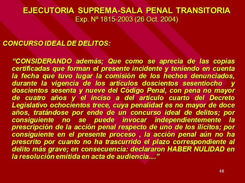 48 EJECUTORIA SUPREMA-SALA PENAL TRANSITORIA Exp. Nº 1815-2003 (26 Oct. 2004) CONCURSO IDEAL DE DELITOS: CONSIDERANDO además; Que como se aprecia de l