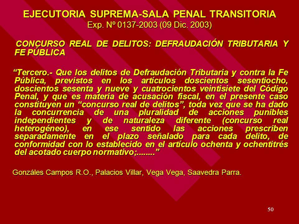 50 EJECUTORIA SUPREMA-SALA PENAL TRANSITORIA Exp. Nº 0137-2003 (09 Dic. 2003) CONCURSO REAL DE DELITOS: DEFRAUDACIÓN TRIBUTARIA Y FE PÚBLICA CONCURSO