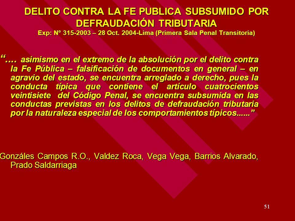 51 DELITO CONTRA LA FE PUBLICA SUBSUMIDO POR DEFRAUDACIÓN TRIBUTARIA Exp: N° 315-2003 – 28 Oct. 2004-Lima (Primera Sala Penal Transitoria).... asimism