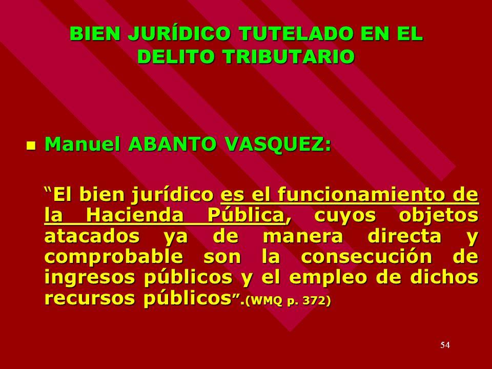 54 BIEN JURÍDICO TUTELADO EN EL DELITO TRIBUTARIO Manuel ABANTO VASQUEZ: Manuel ABANTO VASQUEZ: El bien jurídico es el funcionamiento de la Hacienda P
