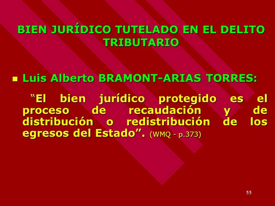 55 BIEN JURÍDICO TUTELADO EN EL DELITO TRIBUTARIO Luis Alberto BRAMONT-ARIAS TORRES: Luis Alberto BRAMONT-ARIAS TORRES: El bien jurídico protegido es