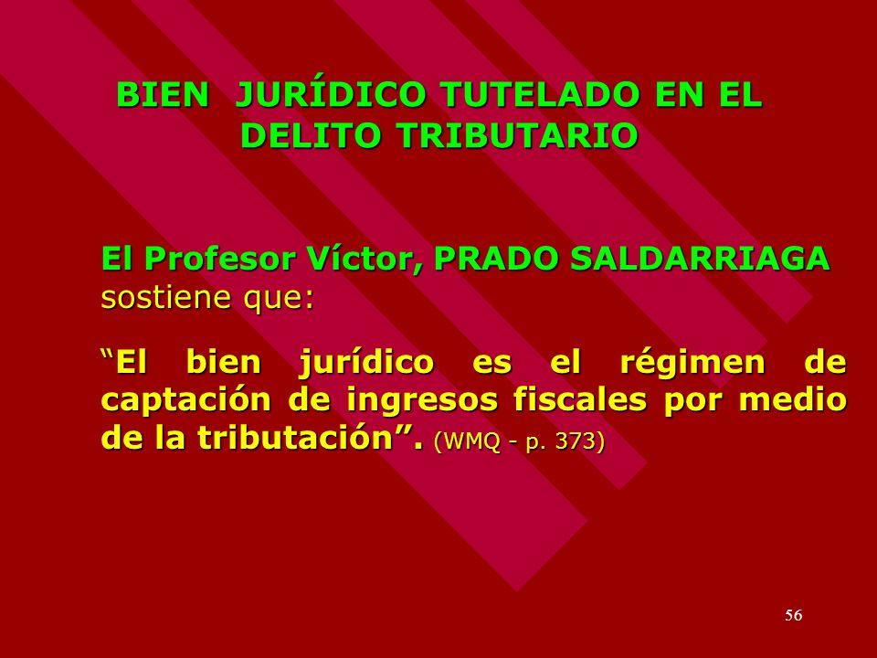 56 BIEN JURÍDICO TUTELADO EN EL DELITO TRIBUTARIO El Profesor Víctor, PRADO SALDARRIAGA sostiene que: El bien jurídico es el régimen de captación de i