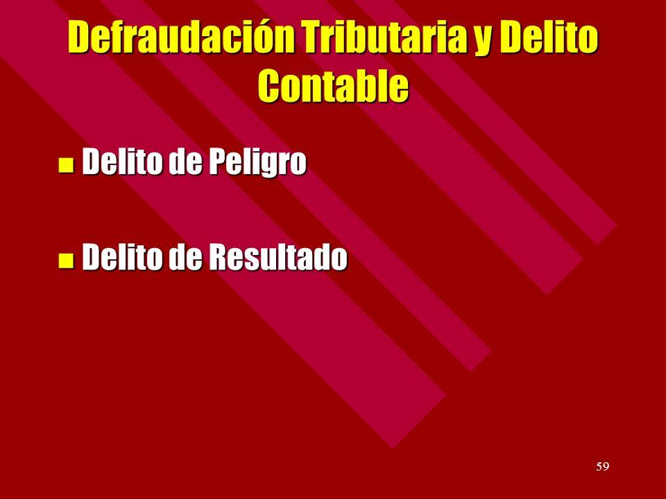 59 Defraudación Tributaria y Delito Contable Delito de Peligro Delito de Peligro Delito de Resultado Delito de Resultado
