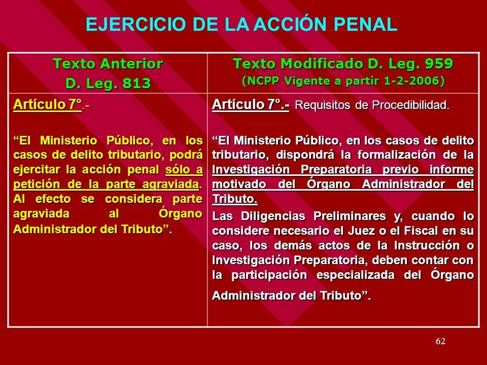 62 Texto Anterior D. Leg. 813 Texto Modificado D. Leg. 959 (NCPP Vigente a partir 1-2-2006) Artículo 7°.- El Ministerio Público, en los casos de delit