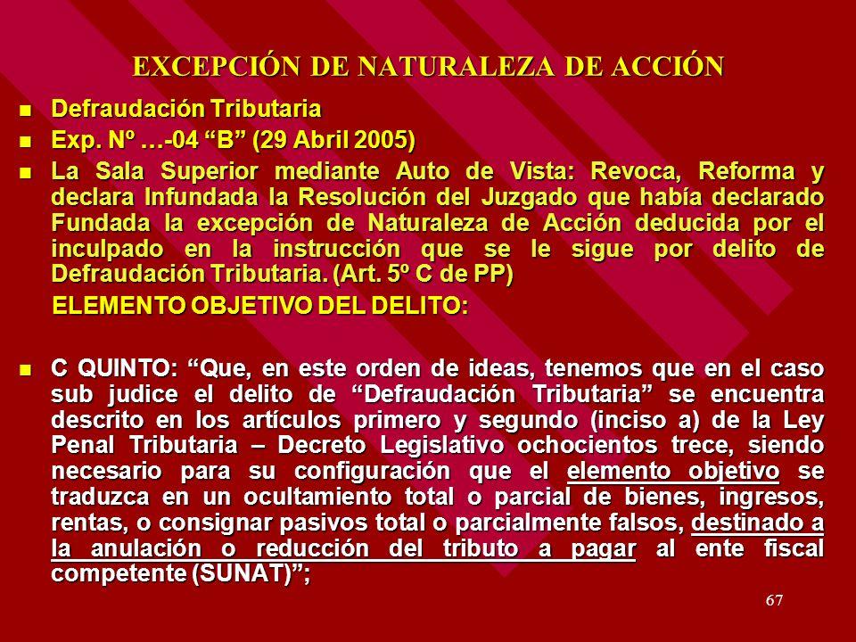 67 EXCEPCIÓN DE NATURALEZA DE ACCIÓN Defraudación Tributaria Defraudación Tributaria Exp. Nº …-04 B (29 Abril 2005) Exp. Nº …-04 B (29 Abril 2005) La
