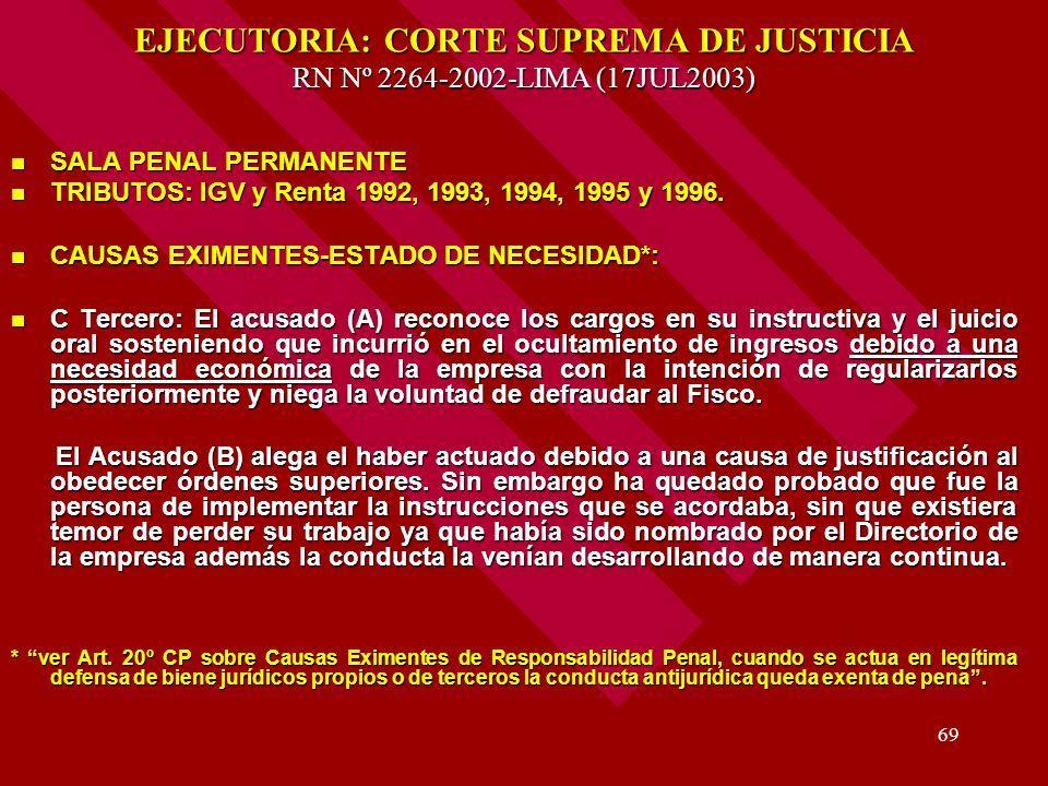 69 EJECUTORIA: CORTE SUPREMA DE JUSTICIA RN Nº 2264-2002-LIMA (17JUL2003) SALA PENAL PERMANENTE SALA PENAL PERMANENTE TRIBUTOS: IGV y Renta 1992, 1993