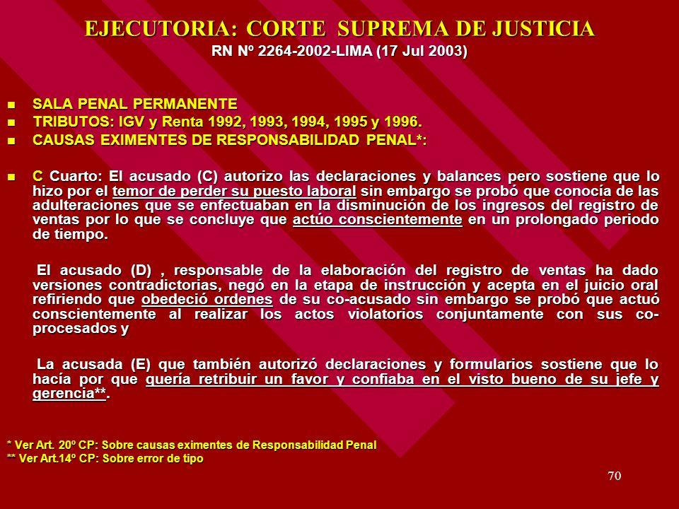70 EJECUTORIA: CORTE SUPREMA DE JUSTICIA RN Nº 2264-2002-LIMA (17 Jul 2003) SALA PENAL PERMANENTE SALA PENAL PERMANENTE TRIBUTOS: IGV y Renta 1992, 19