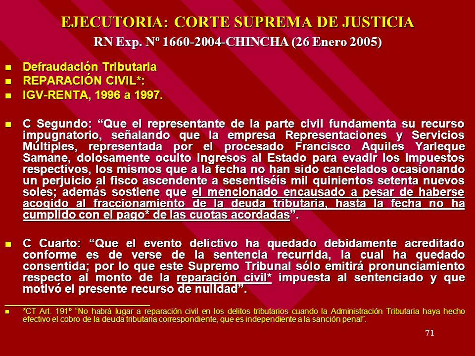 71 EJECUTORIA: CORTE SUPREMA DE JUSTICIA RN Exp. Nº 1660-2004-CHINCHA (26 Enero 2005) Defraudación Tributaria Defraudación Tributaria REPARACIÓN CIVIL