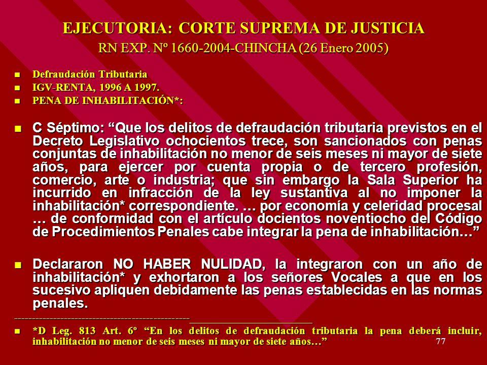 77 EJECUTORIA: CORTE SUPREMA DE JUSTICIA RN EXP. Nº 1660-2004-CHINCHA (26 Enero 2005) Defraudación Tributaria Defraudación Tributaria IGV-RENTA, 1996