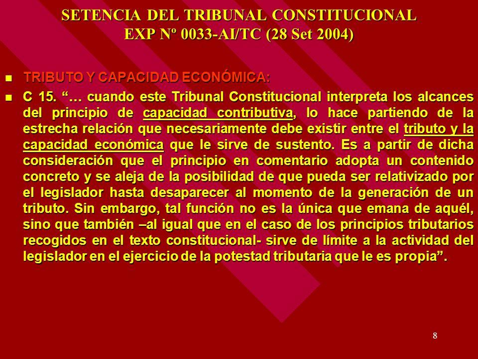 8 SETENCIA DEL TRIBUNAL CONSTITUCIONAL EXP Nº 0033-AI/TC (28 Set 2004) TRIBUTO Y CAPACIDAD ECONÓMICA: TRIBUTO Y CAPACIDAD ECONÓMICA: C 15. … cuando es